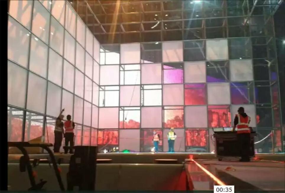 Schaltbare Folie für Bühne